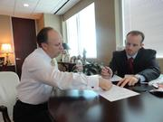 Wolterman meets with Lance Ferguson, director of hospital operations to discuss the upcoming board retreat.