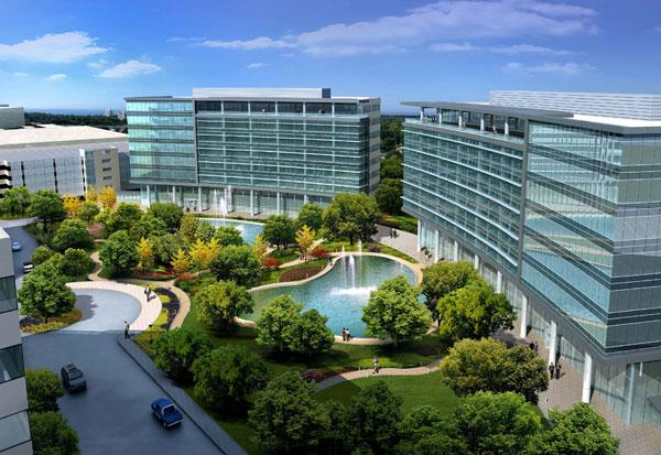 Rendering of two office buildings to be developed in the Energy Corridor by Amsterdam-based Stena Realty Group.