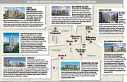 A map of multifamily developments under construction or planned in the Uptown/Galleria area.