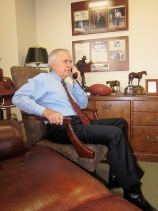 Stevens takes calls and checks email for the majority of the morning.