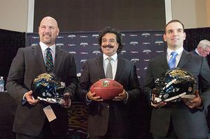 Jaguars owner Shahid Khan (center) and general manager David Caldwell (right) introduced Gus Bradley as the team's new head coach.