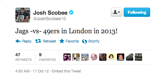 Jaguars kicker Josh Scobee tweeted that the team will play the 49ers in London next season.