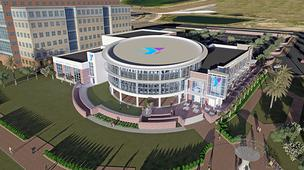 An aerial rendering of the new Riverside Y.