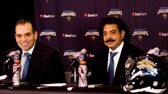 Jaguars general manager Dave Caldwell and owner Shahid Khan.