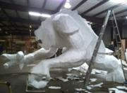Even without its 30 different types of paint, the Rancor sculpture looks menacing.