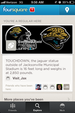 A screenshot using the foursquare app.