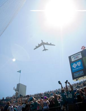 A flyover from a B-52 when the Jaguars played the New Orleans Saints.