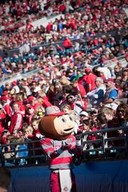 Brutus Buckeye will be one of the mascots rappelling from the PNC Bank building downtown.