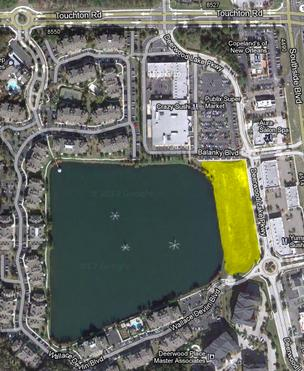 The highlighted area is where the proposed Deerwood Lake Lofts will be.