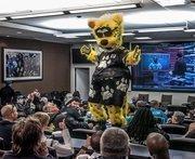 Jaguars mascot Jaxon Deville has fun with the fans attending Thursday's fan forum at EverBank Field.