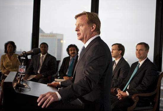NFL Commissioner Roger Goodell is not welcome at Brother Jimmy's in Miami. One of the restaurants owners is New Orleans Saints linebacker Jonathan Vilma, who was suspended for the season by Goodell.