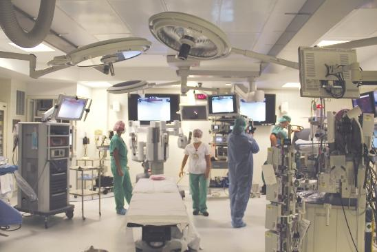 A view of the new operating room where doctors will replace diseased heart valves through through an artery in the thigh.