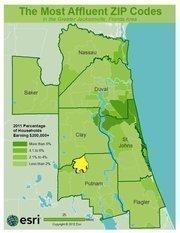 No. 24 - ZIP: 32140County: Putnam2011 Total Households: 704Percent Households Earning $200,000+: 2.27%Median Age: 43.9