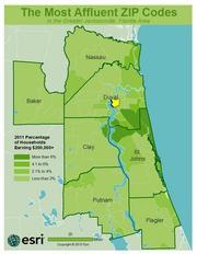 No. 25 - ZIP: 32207County: Duval2011 Total Households: 15,273Percent Households Earning $200,000+: 2.18%Median Age: 38.7