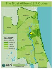No. 6 -ZIP: 32223County: Duval2011 Total Households: 9,652Percent Households Earning $200,000+: 6.04%Median Age: 44.7