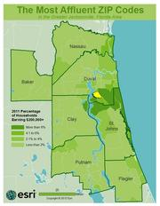 No. 19 -ZIP: 32257County: Duval2011 Total Households: 15,383Percent Households Earning $200,000+: 2.59%Median Age: 39.1
