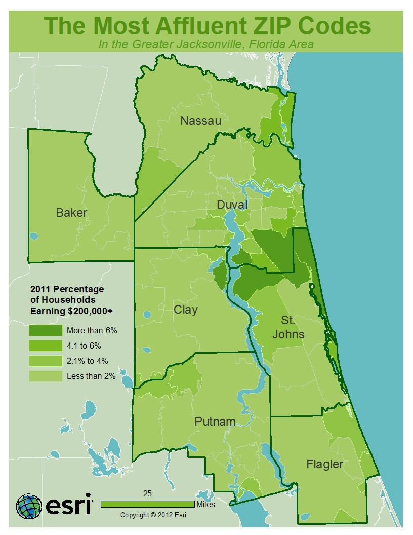 Where are the most affluent ZIP codes in Northeast Florida