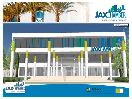 A concept rendering of what the renovated Jax Chamber building will look like.