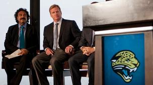 Jacksonville Jaguars owner Shahid Khan, left, and National Football League Commissioner Roger Goodell look on at the August news conference announcing the Jaguars' London Games.  An interview with Khan on his recent trip to London is in the Oct. 19 editio