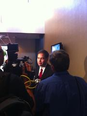 Sen. Marco Rubio interviews with local TV stations after his meeting with local business leaders at the JaxChamber.