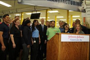 Gov. Scott spoke at Jacksonville-based Vistakon Inc. Wednesday.  The Florida governor said he wants to eliminate taxes on new manufacturing equipment.