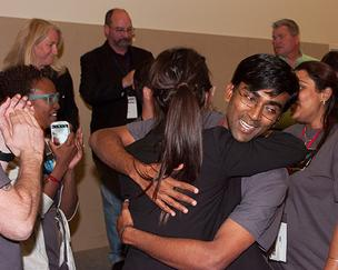 Karthik Kadirvel Ph.D. and his team had the winning idea at Jacksonville Startup Weekend 2013.