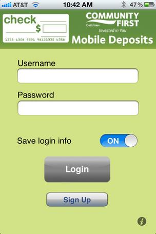 Community First added a mobile deposits feature to its smartphone app.