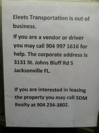 This note was found on Eleets Transportation's door.