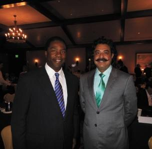 Jacksonville Jaguars owner Shahid Khan (right) and Jacksonville Mayor Alvin Brown.