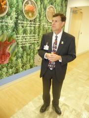 Wolfson Children's Hospital President Michael Aubin leads a tour through the children's section of the tower.