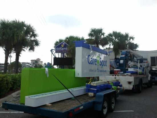 The CareSpot sign went up at the Jacksonville Beach Solantic Wednesday.