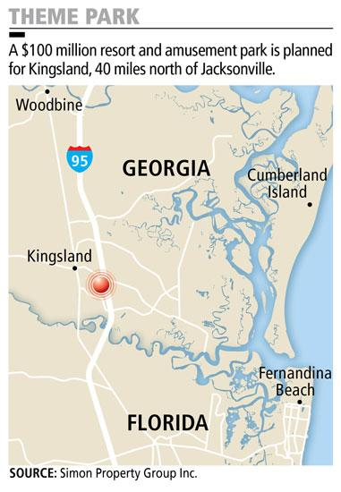 A $100 million resort and amusement park is planned for Kingsland, Ga., 40 miles north of Jacksonville.