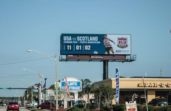 An electronic billboard on Atlantic Boulevard East at St. Johns Bluff Road.