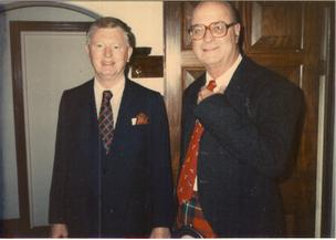 Raymond Mason, the founder and chairman of the Charter Co., and Dr. W.C. Ruffin, a board member, at a 1982 company gathering in Ireland.