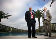 Dhaval Patel and Brian Moulder of CBRE Jacksonville. The group recently brokered the sale of the Citigate Apartments on Gate Parkway West.