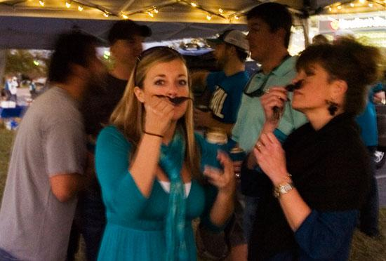 NAIOP of Northeast Florida's Developing Leaders hosted a Tealgate party before Monday night's game against the San Diego Chargers. Attendees at the game were offered fake mustaches in honor of new team owner Shahid Khan.