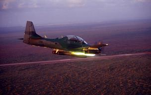 The Embrarer Super Tucano light air support aircraft.