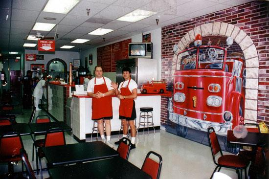 Owners Robin, left, and Chris Sorensen pose at the opening of their first Firehouse Subs restaurant in Mandarin in 1994.