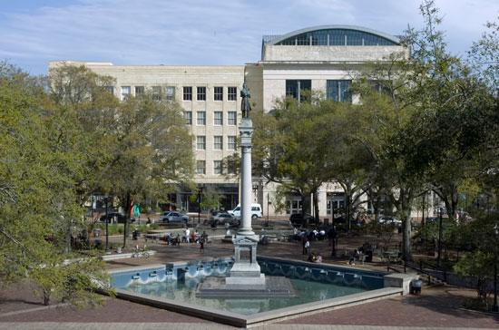 Hemming Plaza is an unofficial gathering spot for the city's homeless population.