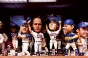 Bobblehead giveaways sell tickets. These are part of Bragan's office/ baseball museum at the stadium.