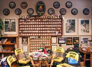 Peter Bragan, owner and president of the Jacksonville Suns. These are part of Bragan's office/ baseball museum at the stadium.