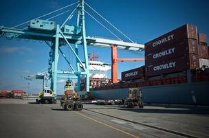 A ship being loaded at Jaxport's docks. Tax credits are proposed if shippers increase cargo volume by more than 10 percent a year.