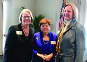 From left: Sandy Cook, Alice Rivlin and Marty Jones at the Jan. 8 World Affairs Council luncheon at The River Club.