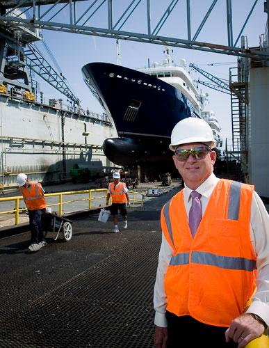 """BAE Systems Southeast Shipyards Director of Business Operations Aaron Bowman at the company's facility on Heckscher Drive. """""""