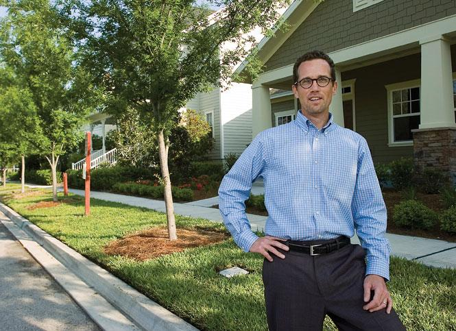 Christian Kuhn, St. Joe's director of development for Northeast Florida, in front of a row of homes in RiverTown in April 2011.