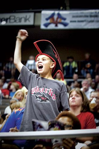 Fans get excited as the Jacksonville Sharks are introduced before their game against the Iowa Barnstormers May 13.