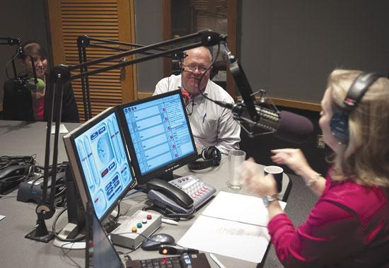 Breaking Ground's Mary Tappouni, left, and her client Steve Wyman chat with WJCT's Melissa Ross during the First Coast Connect radio show Nov. 22. Cuts in funding for the public TV and radio station have spurred plans for a partnership with the University of North Florida.