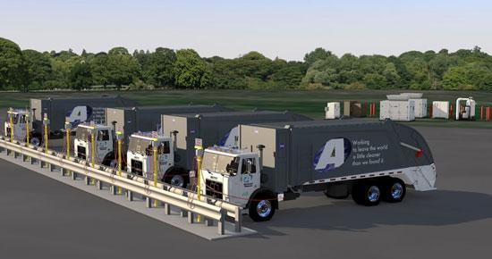 Artist rendering of Advanced Disposal's natural gas fueling station under construction in Atlanta. The company is buying 67 trucks that run on natural gas.