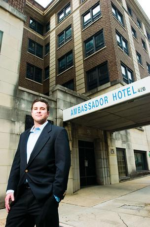 Ryan Whittaker has been trying to interest investors in a renovation of the Ambassador Hotel for years, but the project is seen as risky.