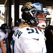 Jacksonville Linebacker Paul Posluszny awaits his introduction prior to the Jaguars matchup with Houston.